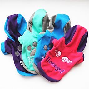 preiswerte Haustierzubehör-Hund Kapuzenshirts Fleece-Hoodie Geometrisch Lässig / Alltäglich Hundekleidung warm halten Purpur Fuchsia Blau Kostüm Baby Kleiner Hund Polar-Fleece XS S M L XL