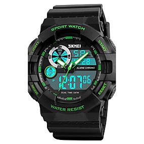 Недорогие Фирменные часы-SKMEI Муж. Спортивные часы Армейские часы Наручные часы Цифровой Роскошь Защита от влаги Стеганная ПУ кожа Черный / Зеленый Аналого-цифровые - Черный Черный / зеленый Красный / Два года / Японский