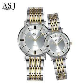 Недорогие Фирменные часы-ASJ Для пары Наручные часы Японский Кварцевый согласование Его и ее Нержавеющая сталь Серебристый металл 30 m Повседневные часы Аналоговый Дамы Кулоны Мода - Золото / Белый Белый / Серебристый