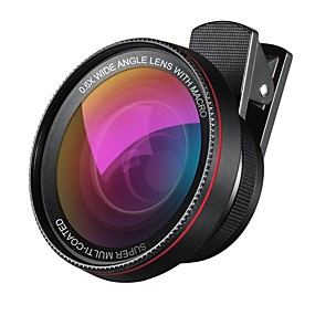 olcso Mobiltelefon kamera-2 in 1 professzionális HD kamera objektív 0.6x szuper széles látószögű objektív 10x makró objektív univerzális clip-on mobiltelefon lencse