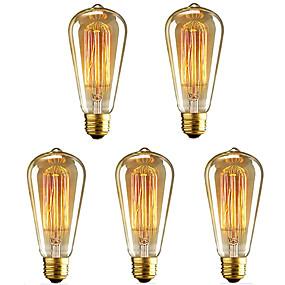 abordables Bombillas Incandescentes-5pcs 40 W E26 / E27 ST64 Blanco Cálido 2200-2700 k Retro / Regulable / Decorativa Bombilla incandescente Vintage Edison 220-240 V