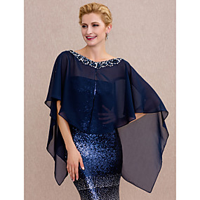 cheap Women's Accessories-Chiffon Wedding / Party / Evening Women's Wrap With Beading / Buttons Capes