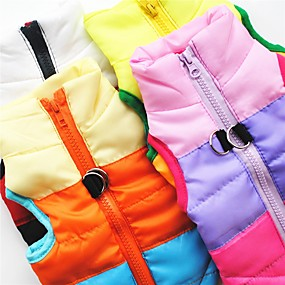 cheap Pet Supplies-Dog Vest Coat Harness Color Block Casual / Daily Outdoor Winter Dog Clothes Black Red Blue Costume Terylene Cotton XS S M L