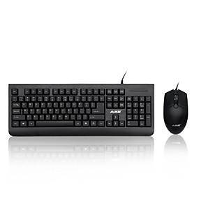 olcso Egér & Billentyűzetek-AJAZZ X1180 USB vezetékes Egér billentyűzet Combo Membrán billentyűzet Csendes Office Mouse 1000 dpi