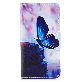 voordelige Galaxy J3 Hoesjes / covers-hoesje Voor Samsung Galaxy J7 (2017) / J5 (2017) / J5 (2016) Portemonnee / Kaarthouder / met standaard Volledig hoesje Vlinder Hard PU-nahka