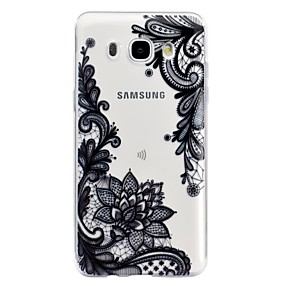 voordelige Galaxy J5(2017) Hoesjes / covers-hoesje Voor Samsung Galaxy J7 (2016) / J5 (2017) / J5 (2016) Transparant / Reliëfopdruk / Patroon Achterkant Lace Printing Zacht TPU