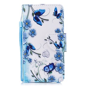 cheap Galaxy J3(2016) Cases / Covers-Case For Samsung Galaxy J7 (2017) / J5 (2017) / J5 (2016) Wallet / Card Holder / with Stand Full Body Cases Butterfly / Flower Hard PU Leather