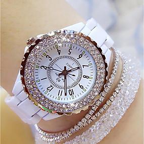 ieftine Cuarț ceasuri-Pentru femei femei Ceas de Mână Diamond Watch ceasul cu ceas Quartz Charm Ceas Casual Analog Alb Negru / Oțel inoxidabil / Ceramică / Japoneză / Japoneză