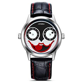 Недорогие Фирменные часы-SINOBI Муж. Спортивные часы Наручные часы Японский Кварцевый Кожа Черный 30 m Ударопрочный Cool Крупный циферблат Аналоговый На каждый день Мультяшная тематика Мода - Черный / Белый