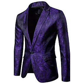 cheap Party Night-Men's Party / Daily / Daily Wear Sophisticated Spring / Fall Regular Blazer, Solid Colored / Floral Shirt Collar Long Sleeve Polyester / Spandex Black / White / Purple / Slim