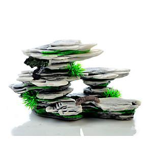economico Prodotti Per Animali-Acquario Decorazioni Acquario Vasca per i pesci Pietre Affioramento roccioso Nero Resina 1pc 21*7*11 cm