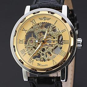 Недорогие Фирменные часы-WINNER Муж. Наручные часы Механические часы С автоподзаводом Кожа Черный 30 m С гравировкой Аналоговый Роскошь Классика На каждый день - Бронзовый Черный / Серебристый Белый / Серебристый