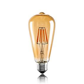 olcso LED nagykereskedelem-1db 6 W Izzószálas LED lámpák 560 lm E26 / E27 ST64 6 LED gyöngyök COB Dekoratív Meleg fehér 220-240 V / RoHs