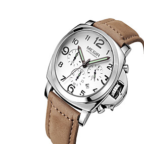 Недорогие Фирменные часы-MEGIR Муж. Наручные часы Кварцевый Классика Календарь Кожа Черный / Коричневый Аналоговый - Белый Черный Кофейный / Светящийся