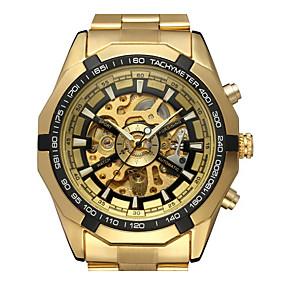 voordelige Klassieke Horloge-WINNER Heren Skeleton horloge Polshorloge Automatisch opwindmechanisme Roestvrij staal Goud 30 m Hol Gegraveerd Analoog Klassiek Informeel Modieus Dress horloge - Goud Wit Zwart