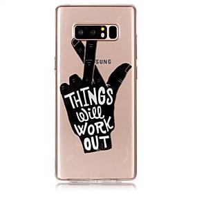Недорогие Чехлы и кейсы для Galaxy Note 8-Кейс для Назначение SSamsung Galaxy Note 8 Ультратонкий / Прозрачный / Рельефный Кейс на заднюю панель Слова / выражения Мягкий ТПУ
