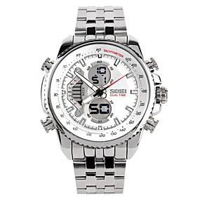 Недорогие Фирменные часы-SKMEI Муж. Для пары Наручные часы электронные часы Японский Кварцевый Серебристый металл 30 m Защита от влаги Календарь Секундомер Аналого-цифровые Роскошь Мода -  / Фосфоресцирующий