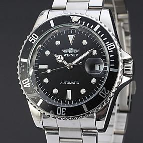 voordelige Merk Horloge-WINNER Heren Dress horloge Polshorloge mechanische horloges Automatisch opwindmechanisme Roestvrij staal Zilver 30 m Kalender Analoog Luxe Klassiek Informeel - Zwart