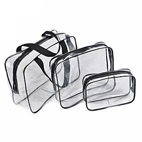 abordables Soin des Ongles-3pcs sac cosmétique ensemble transparent sac de beauté sacs à main imperméables sacs de lavage dames composent