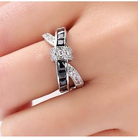 povoljno Nakit i ručni satovi .-Žene Band Ring Prestenje knuckle ring prsten za palac Sapphire Kubični Zirconia Crn purpurna boja Zelen Zircon Kamen Geometric Shape dame Neobično Jedinstven dizajn Vjenčanje Party Jewelry X prsten