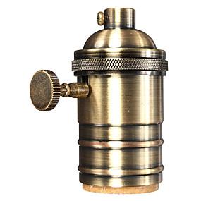 olcso Csatlakozók-1 db könnyű foglalat e26 / e27 ipari lámpa foglalat fém héj gombokkal be / ki szüreti edison függesztő lámpa tartó diy