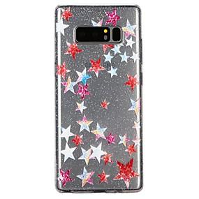 Недорогие Чехлы и кейсы для Galaxy Note 8-Кейс для Назначение SSamsung Galaxy Note 8 Полупрозрачный / Рельефный / С узором Кейс на заднюю панель Мультипликация / Сияние и блеск Мягкий ТПУ