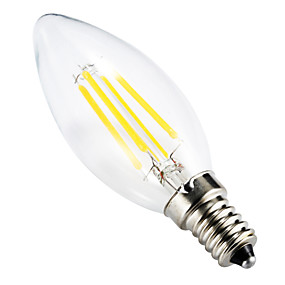 billige ONDENN-BRELONG® 1pc 4 W 300-350 lm E14 LED-glødepærer C35 4 LED perler COB Mulighet for demping / Dekorativ Varm hvit 220-240 V / RoHs