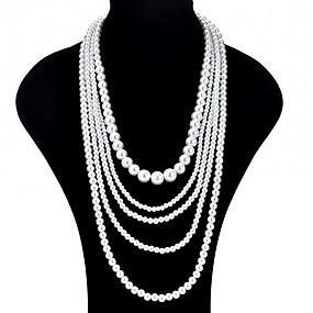 olcso Többsoros nyaklánc-Női Rakott nyakláncok hosszú nyaklánc hölgyek Ázsiai Divat Túlméretezett Gyöngyutánzat Fehér Nyakláncok Ékszerek Kompatibilitás Ünnepség Diákbál Ígéret Szerepjáték jelmezek