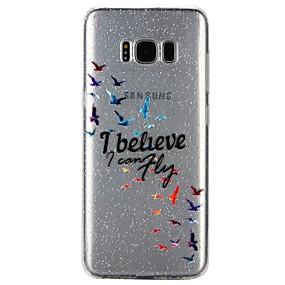 voordelige Galaxy S7 Hoesjes / covers-hoesje Voor Samsung Galaxy S8 / S7 / S6 Doorzichtig / Reliëfopdruk / Patroon Achterkant Woord / tekst / Cartoon / Glitterglans Zacht TPU