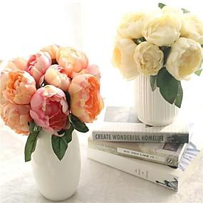 levne Umělé květiny-1bouquet 6 hlavy damask kulaté květiny umělé růže květiny svatební party dekorace hedvábné květiny domácí festival dekor