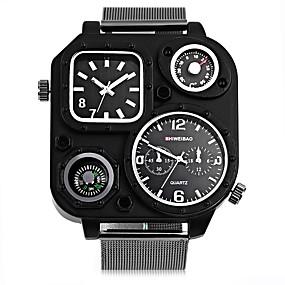 Недорогие Фирменные часы-SHI WEI BAO Муж. Спортивные часы Модные часы Армейские часы Кварцевый Крупногабаритные Нержавеющая сталь Черный Компас С двумя часовыми поясами Панк Аналоговый На каждый день - Белый Черный