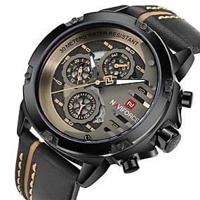 Недорогие Фирменные часы-NAVIFORCE Муж. Наручные часы Кварцевый Натуральная кожа Черный / Коричневый Защита от влаги Календарь Повседневные часы Аналоговый На каждый день Мода Cool - Кофейный Черный и золотой Красный