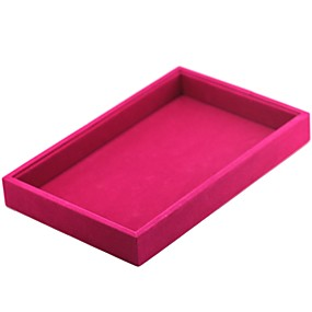 זול קופסת תכשיטים ותצוגה-קופסאות תכשיטים cufflink Box ריבוע פשתן שחור לבן אדום ורוד סוכריה אפור כהה בד
