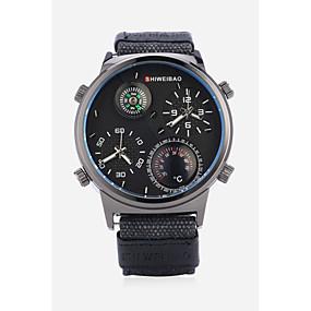 Недорогие Фирменные часы-SHI WEI BAO Муж. Спортивные часы Модные часы Армейские часы Кварцевый Крупногабаритные Черный / Белый / Синий Термометр Компас С двумя часовыми поясами Аналоговый На каждый день - Белый Черный Зеленый