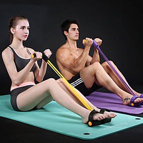cheap Exercise & Fitness-Pedal Resistance Band Sit-up Pull Rope Natural Latex Bodybuilding Expander Sports Latex Home Workout Gym Pilates Strength Training Muscular Bodyweight Training Physical Therapy Weight Loss For Waist