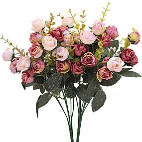levne Umělé květiny-Umělé květiny 2 Větev Pastýřský Styl Růže Květina na stůl