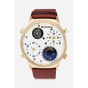 Недорогие Фирменные часы-SHI WEI BAO Муж. Спортивные часы Армейские часы Кварцевый Кожа Черный / Коричневый / Тёмно-зелёный Термометр Компас С двумя часовыми поясами Аналоговый На каждый день Мода -  / Один год / SSUO 377