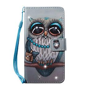 voordelige Galaxy S7 Edge Hoesjes / covers-hoesje Voor Samsung Galaxy S7 edge / S7 / S6 edge Portemonnee / Kaarthouder / Strass Volledig hoesje Uil Hard PU-nahka