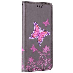 Недорогие Чехлы и кейсы для Galaxy Note 8-Кейс для Назначение SSamsung Galaxy Note 8 Кошелек / Бумажник для карт / со стендом Чехол Бабочка Твердый Кожа PU