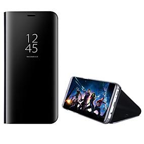 Недорогие Чехлы и кейсы для Huawei Mate-Кейс для Назначение Huawei Mate 10 / Mate 10 pro / Mate 10 lite со стендом / Зеркальная поверхность / Флип Чехол Однотонный Твердый ПК / Mate 9 Pro