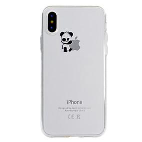 voordelige iPhone 11 Pro Max hoesjes-hoesje Voor Apple iPhone X / iPhone 8 Plus / iPhone 8 Transparant / Patroon Achterkant Spelen met Apple-logo / Panda Zacht TPU