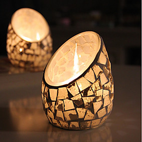 abordables Home Fragrances-Style européen / Style Simple Verre Bougeoirs 1pc, Bougie / Bougeoir