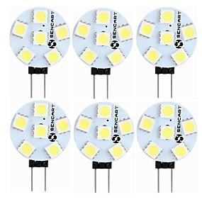 povoljno Dom i vrt-SENCART 6kom 1.5 W LED svjetla s dvije iglice 60-80 lm G4 T 6 LED zrnca SMD 5050 Ukrasno Toplo bijelo Bijela 12 V