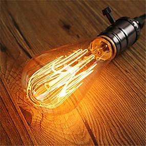 Χαμηλού Κόστους Λαμπτήρες πυράκτωσης-1pc 60 W E26 / E27 ST64 Θερμό Λευκό 2200-2300 k Ρετρό / Με ροοστάτη / Διακοσμητικό Λαμπτήρας πυρακτώσεως Vintage Edison 220-240 V