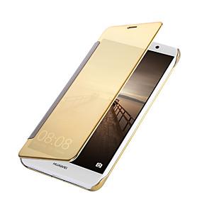 Недорогие Чехлы и кейсы для Huawei Mate-Кейс для Назначение Huawei Mate 10 / Mate 9 Покрытие / Зеркальная поверхность / Флип Чехол Однотонный Твердый Кожа PU