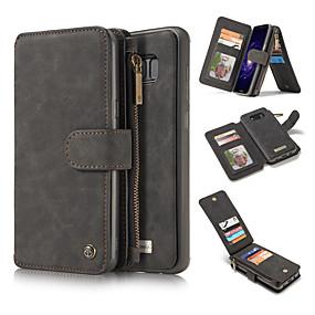 Недорогие Чехлы и кейсы для Galaxy Note 8-Кейс для Назначение SSamsung Galaxy Note 8 / Note 5 Кошелек / Бумажник для карт / со стендом Чехол Однотонный Твердый Настоящая кожа