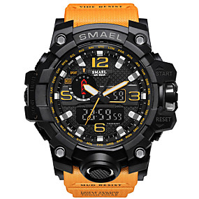 cheap Kids' Watches-SMAEL Men's Sport Watch Military Watch Digital Watch Japanese Digital Quilted PU Leather Silicone Black / Red / Orange 50 m Water Resistant / Waterproof Calendar / date / day Chronograph Analog