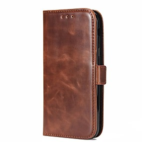 cheap Galaxy A7(2016) Cases / Covers-Case For Samsung Galaxy A5(2018) / A3(2017) / A5(2017) Wallet / Card Holder / with Stand Full Body Cases Solid Color Hard Genuine Leather
