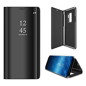 voordelige Galaxy S7 Edge Hoesjes / covers-hoesje Voor Samsung Galaxy S9 / S9 Plus / S8 Plus Spiegel / Flip / Auto Slapen / Ontwaken Volledig hoesje Effen Hard Muovi