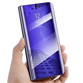 billige Galaxy S6 Edge Plus Etuier-Etui Til Samsung Galaxy S9 / S9 Plus / S8 Plus Med stativ / Spejl / Flip Fuldt etui Ensfarvet Hårdt PU Læder
